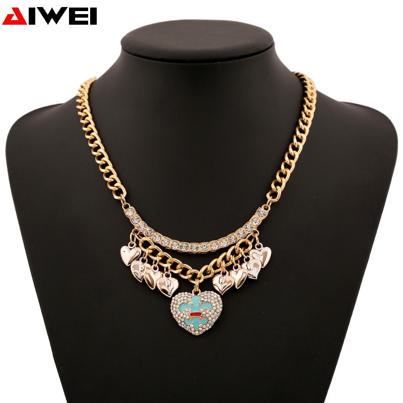 Новый австрийский хрусталь дизайн бренда сердце ожерелья & золотую цепь подвески Колье бижутерия для женщин
