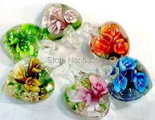 Lots 50pcs flower Murano Lampwork glass european heart bead Fit sort jewelry(China (Mainland))