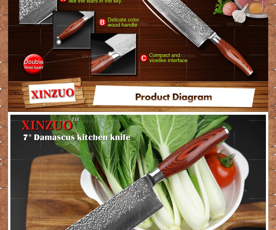 "Buy xinzuo2016 New 7"" inch chef knife Japanese Damascus steel kitchen knife Color wood handle high quality knife sharp free shipping cheap"