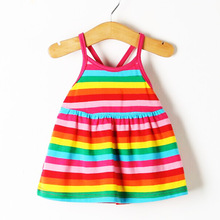 Summer New baby Dress Sleeveless Harness Dress Baby Girls Clothes Rainbow Striped Dresses Vestido Infantil Kids Clothes(China (Mainland))