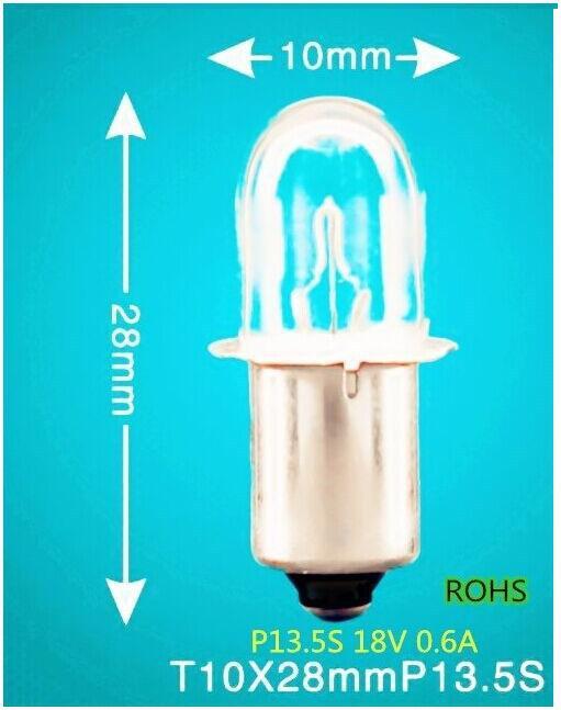 New Free shipping P13.5S 18V 0.6A Xenon bubble tool lamp,T10 lamp,P13.5S 18V 0.6A xenon bubble, P13.5S flashlight bulb 18V 0.6A(China (Mainland))