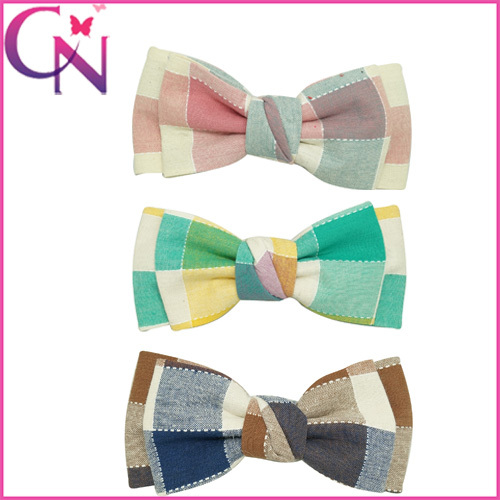 Free Shipping New Classical Style Plaid Bow Baby Girls Hairbow With Clips Girl Barrettes Hair Accessories 30pcs CNEHB-1504202(China (Mainland))