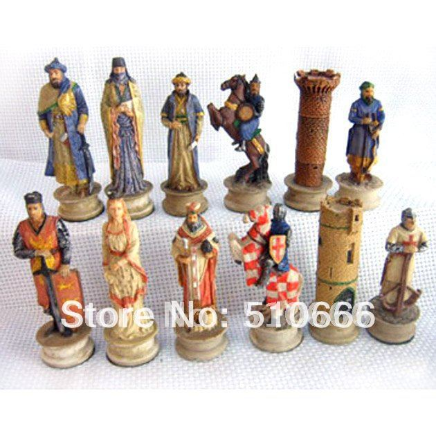 Crusades theme chess inimitable design.made resin,best gift friend/chess pieces - SWEET HOME ACCESSORIES MANUFACTORY store