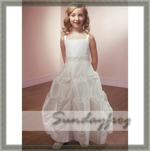 Custom Made Ball Gown Flower Girl Dress Floor-length Taffeta Beaded Back Bow First Communion Dress Wedding Party Dress -FL31