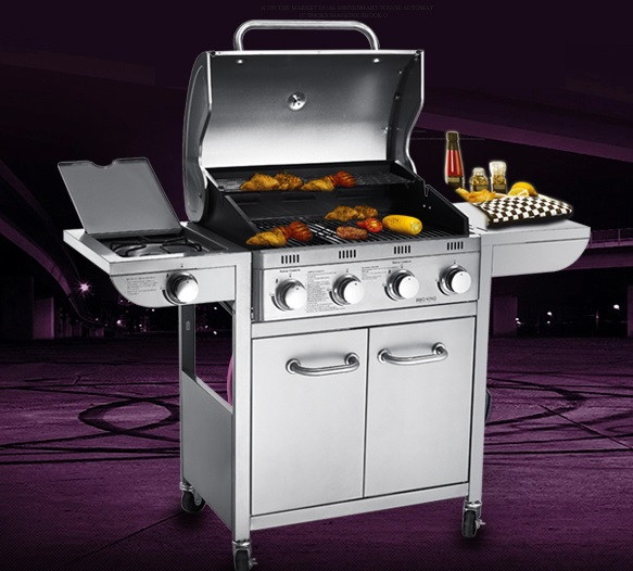 Five burners gas BBQ grill, gas stove,gas oven,outdoor all stainless steel gas BBQ grill with cover(China (Mainland))