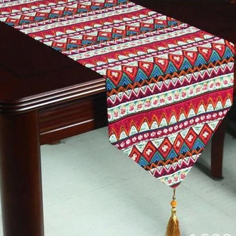Cotton Linen Bohemian Style Tassel Table Runner Dining Table Cover Kitchen Hotel Home Textile Home Decor U0801