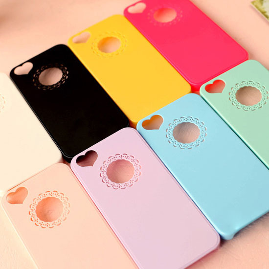 Best Sellers Cute candy Color Loving Heart Flower Lace Hard Phone Case Cover For iPhone 4 4S 5 5S 6 Only To USA Drop shipping(China (Mainland))