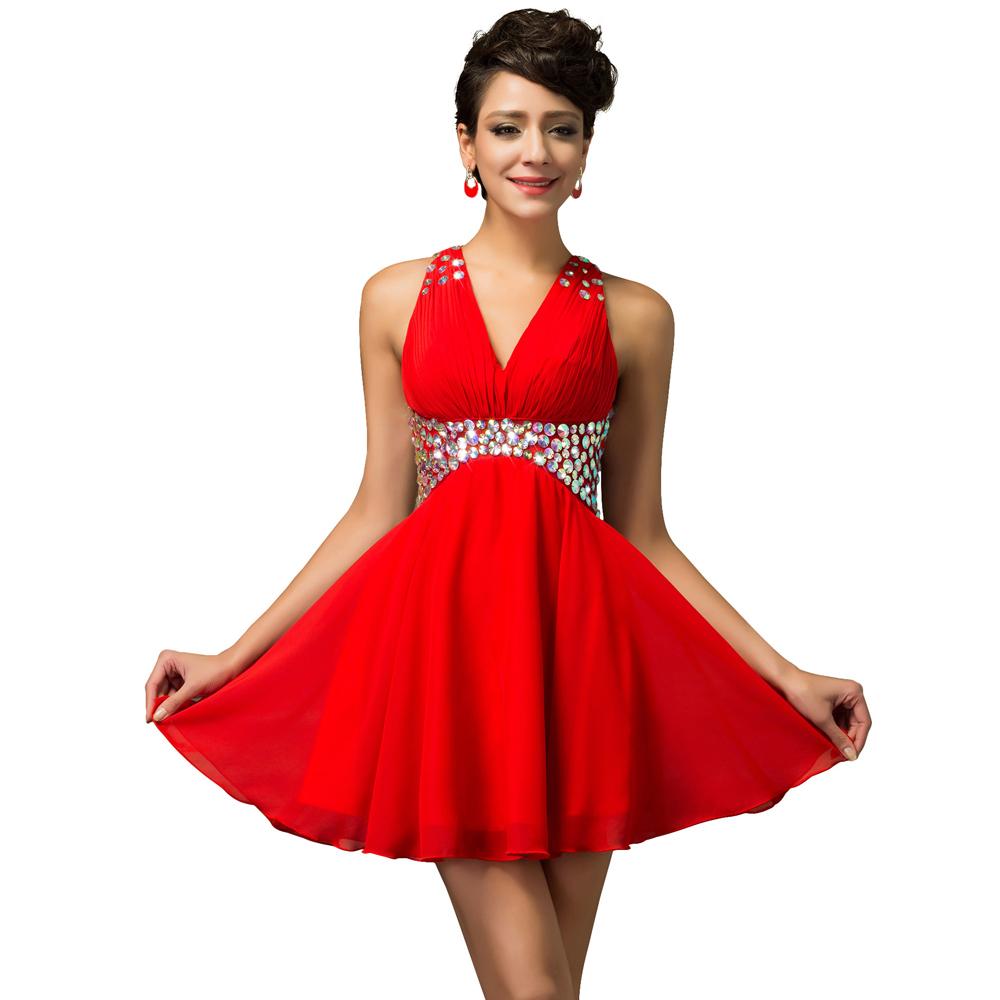 damen kleider mini red prom dresses chiffon robe de soiree. Black Bedroom Furniture Sets. Home Design Ideas