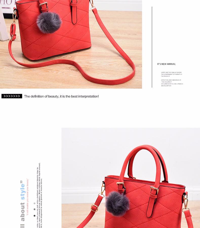 Korean Style Fashion Plaid Handbag Succinct Fur Ball Ornamet Large Chic Bag Luxury Designer Women Stylish PU Shoulder Bag