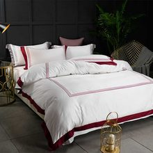 5-star Hotel White Luxury 100% Egyptian Cotton Bedding Sets Full Queen King Size Duvet Cover Bed/Flat Sheet Fitted Sheet set Pil(China)
