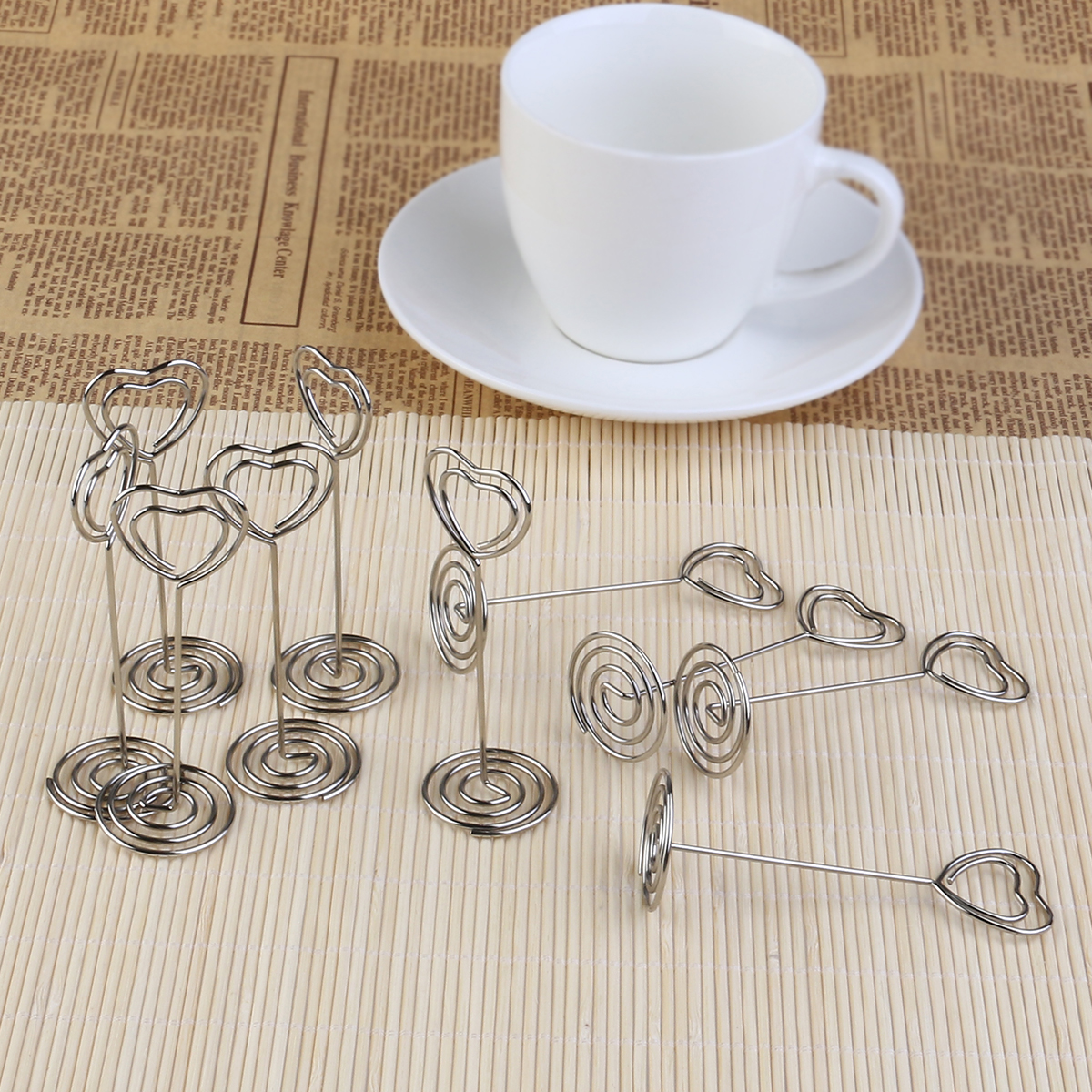 10pcs Place Card Holder Heart Shape Clips Place Card Holder/Photo Holder Wedding Table Decoration Favors(China (Mainland))