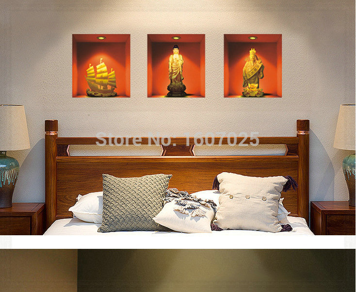 30 33cm 2015 new buddha paintings 3d wall stickers vintage for Home decorations wholesale