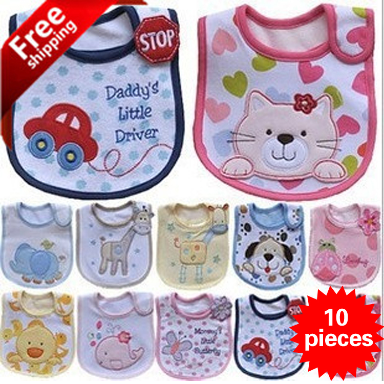 10 pieces cotton Baby bibs Infant embroidered saliva towels carter Burp Cloths funny Baby Waterproof bib Carter wear 117 colors(China (Mainland))