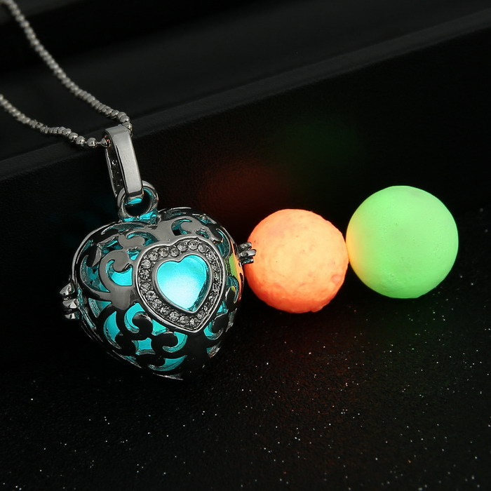 5 Styles (1 necklace+3 Luminous Beads) Fashion glowing Necklace Women Jewelry Angel Wings Hollow Pendant Necklaces - Elegant Lady's Store store