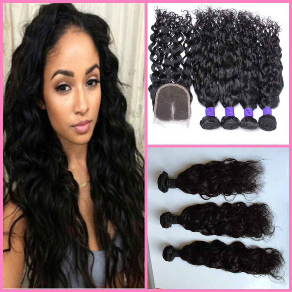 Cheap Peruvian Hair Water Wave 3 bundles with lace closure ,Wet and Wavy Hair Raw Unprocessed water hair<br><br>Aliexpress