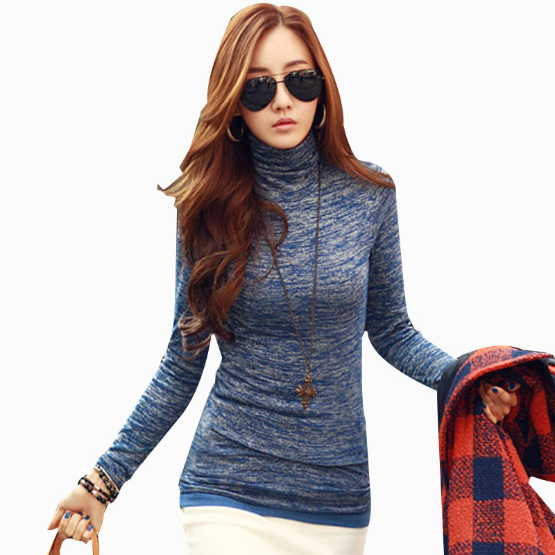 New autumn winter woman lady casual basic turtleneck for Best full sleeve t shirts