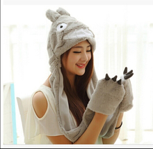 Cartoon Totoro Cute Winter Plush Animal Hat Bear Cap Fashion Children Adult Earmuff Pig Scarf Gloves for Christmas(China (Mainland))