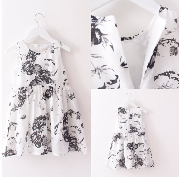Girl Summer Dress Chinese style ink painting big flower Costume Party Formal Dresses Halloween dresses cute dresses(China (Mainland))
