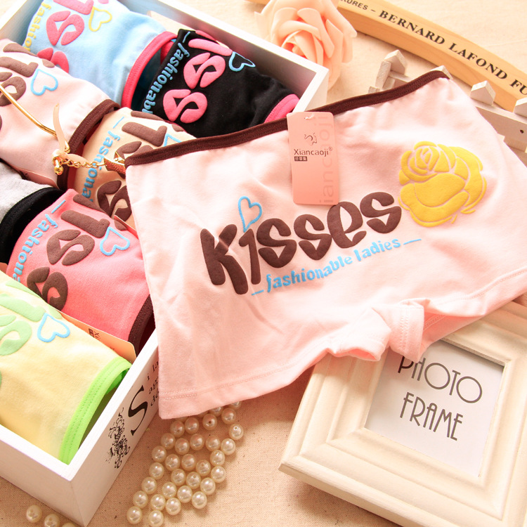 2015 Special Offer Kisses+Rose Print Anti Grass Fiber Cotton Boxer Briefs for Lovely Girl(China (Mainland))