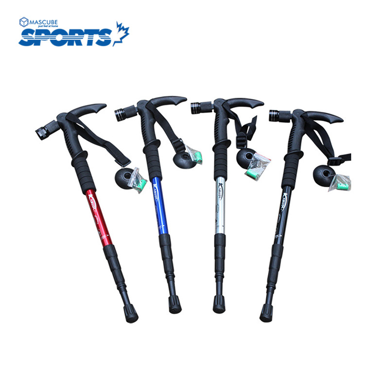 T Handle Multi-function Aluminum Alloy Walking Hiking Stick Ski Poles Cane With LED For Old High Quality(China (Mainland))