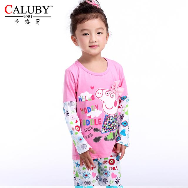 Оптовая продажа ребенка cloting комплект в наличии peppa pig пижамы детей комплект одежды девушка вне подходит производитель новорожденных девочек комплектов одежды