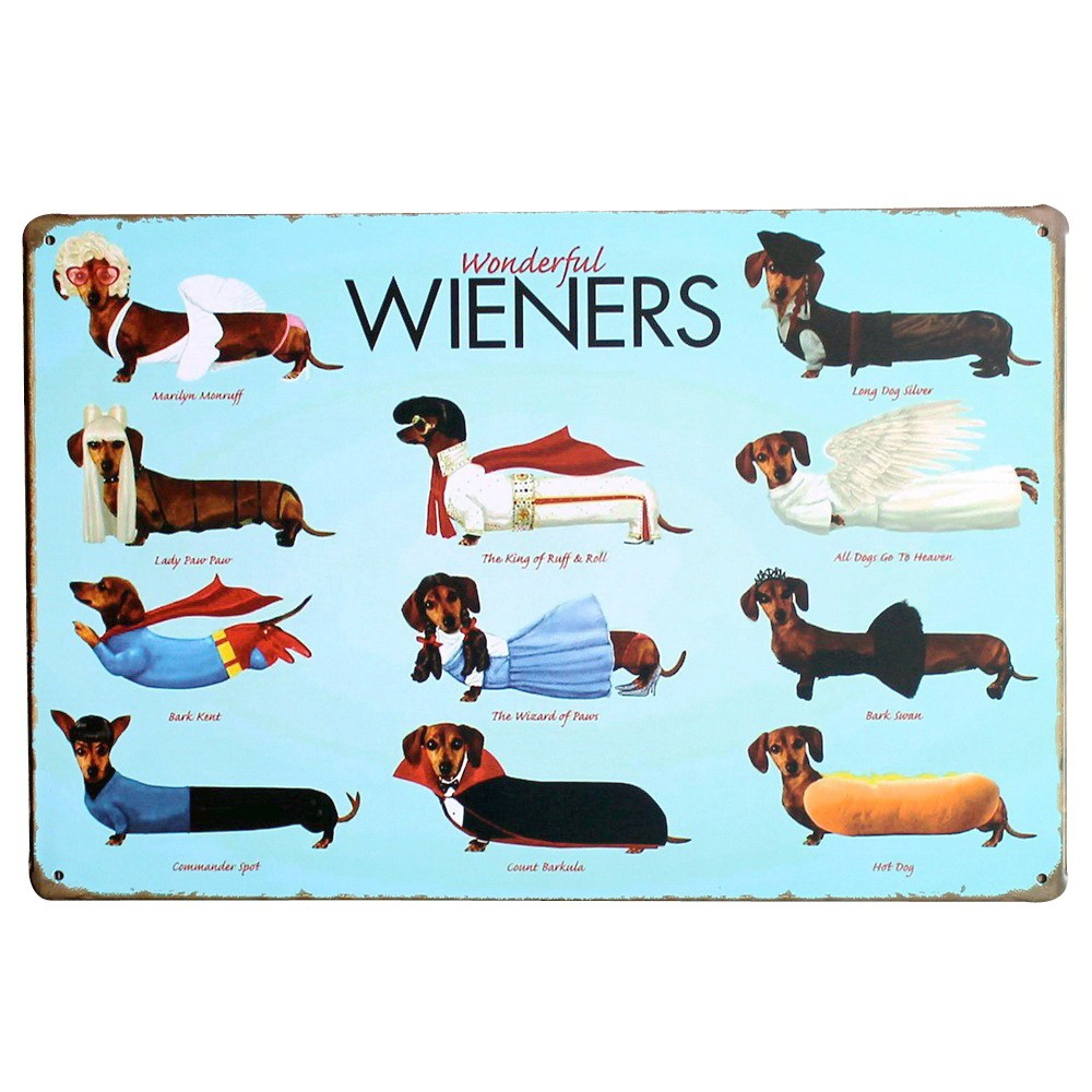 WONDERFUL WIENERS Metal Tin Plaque Dog Decor Sign Vintage Puppy Board for pet birthday party in playroom home LJ6-1 20x30cm A1