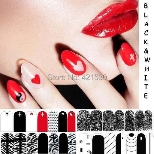 full cover nail art tips stickers black white adhesive nail foil wraps decals free shipping 6sets/lot(China (Mainland))