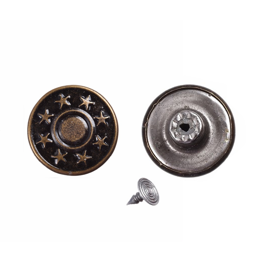 50 Sets Bronze Star Metal Buttons Pattern Jean Tack Metal Buttons Knopf Bouton Retrol Buttons Garment Accessories Wholesale 17mm(China (Mainland))
