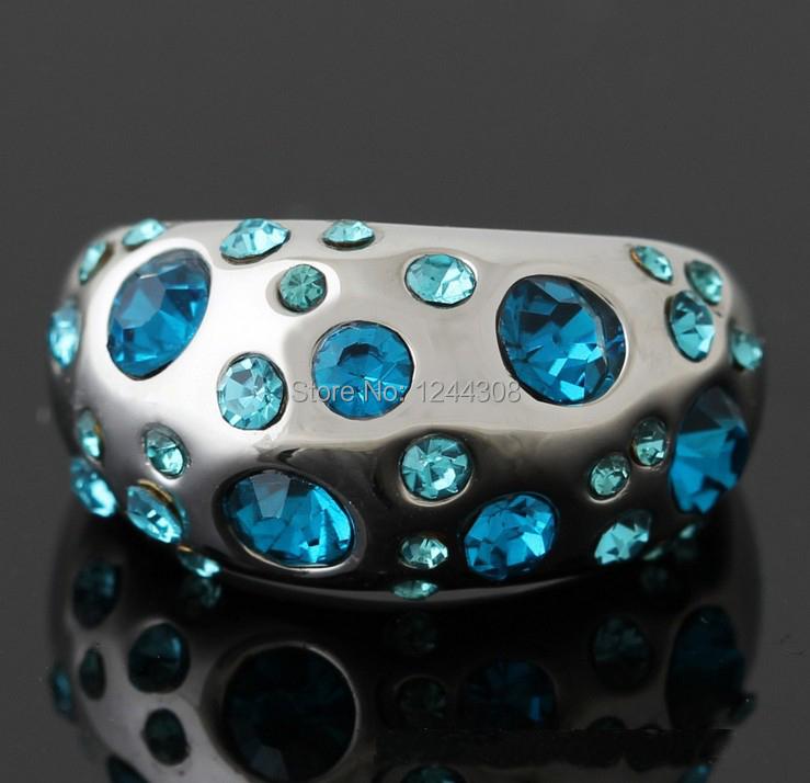 Fashion Rhinestone Jewelry Crystal Ring Wedding Ring Set White Gold Plated J00093(China (Mainland))