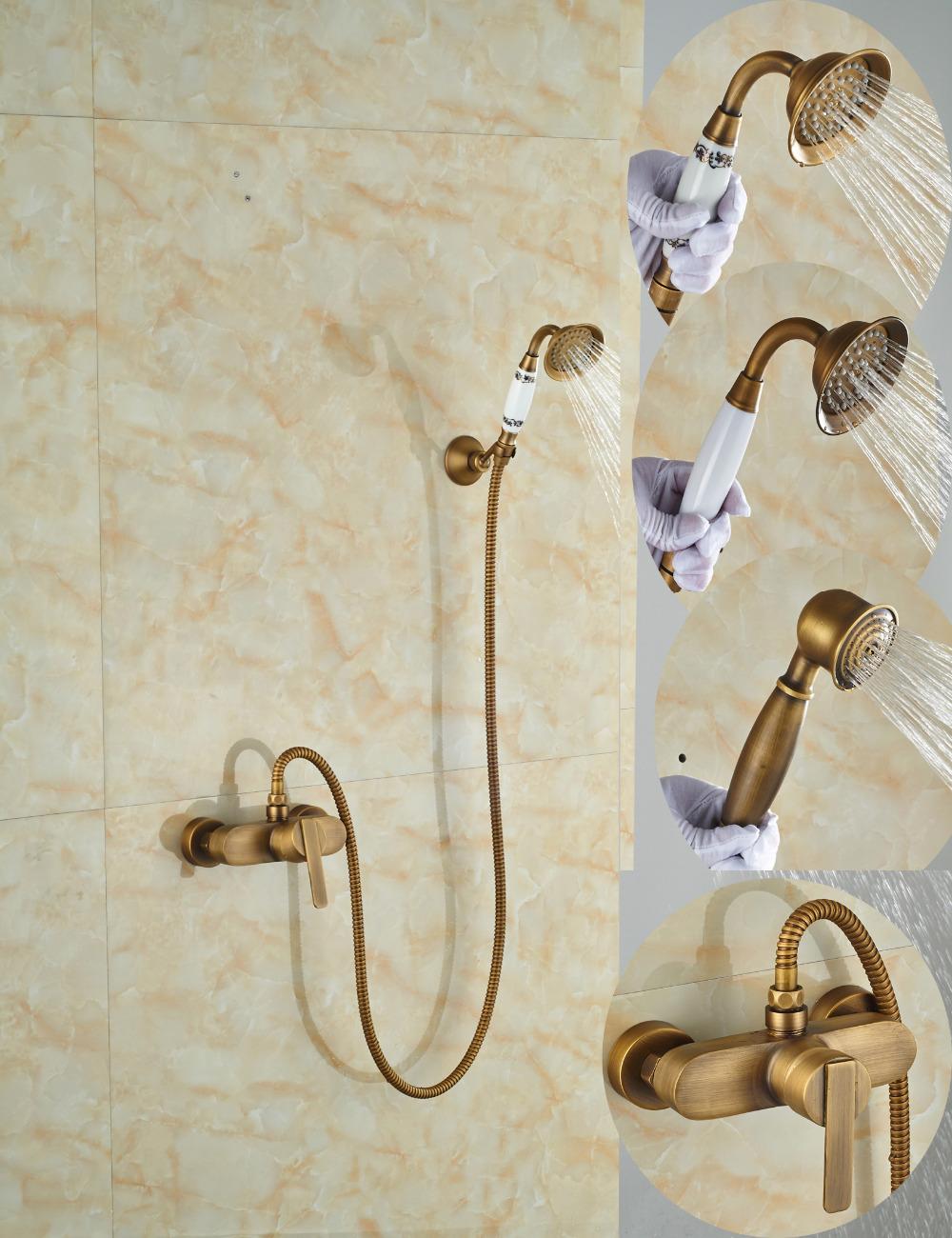 Фотография Wholesale And Retail Promotion Single Handle Antique Brass Bathroom Tub Faucet Valve Mixer Tap W/ Hand Shower Sprayer