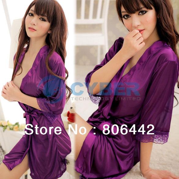 Hot Sale Women's Sexy Sleepwear Ice Silk Bathrobes Nightgown + G-String 3Colors Free Shipping 13137