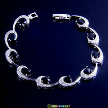 BB2907 Bracelet 7inch Exclusive Black sapphire silver 18k real white gold plated jewelry(China (Mainland))