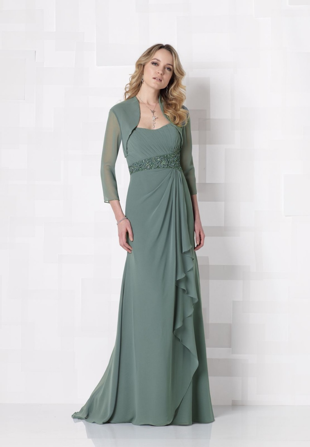 J0084 free jacket green chiffon draped waistband beading for Mother of the bride dresses for beach weddings