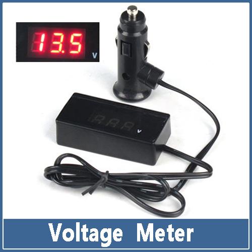 1x 12V 24V Auto Car Voltage Meter Truck Electric Red LED Digital Battery Cigarette Lighter Volt Meter Monitor Gauge Panel(China (Mainland))