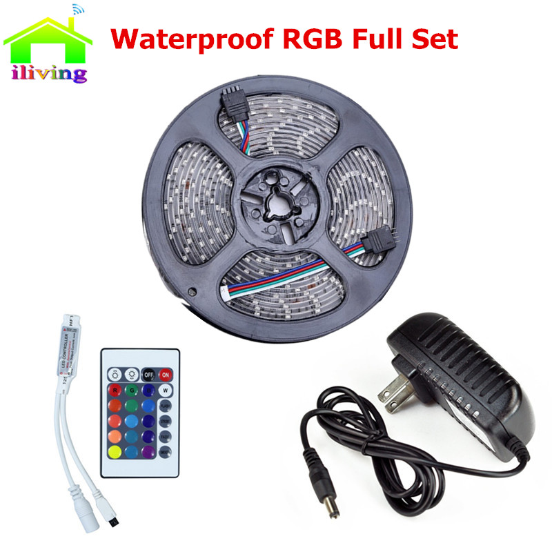 5m Waterproof Led Light 12V Led Strip SMD 3528 60leds/m RGB Tape Ribbon+24key IR Remote Controller+DC 12V Power Supply For Home(China (Mainland))