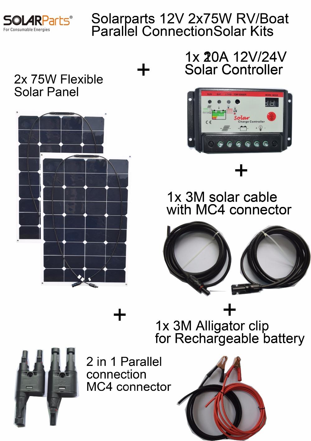 Solarparts 2x75W DIY RV/Boat Kits Solar System 2 x75W flexible solar panel 1x 10A solar controller 1 set 3M MC4 cable 1 set clip(China (Mainland))