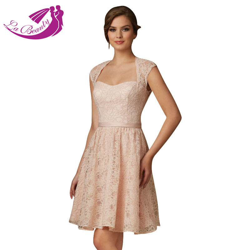 Blush pink lace cocktail dresses open back mother of the for Formal short dresses for weddings