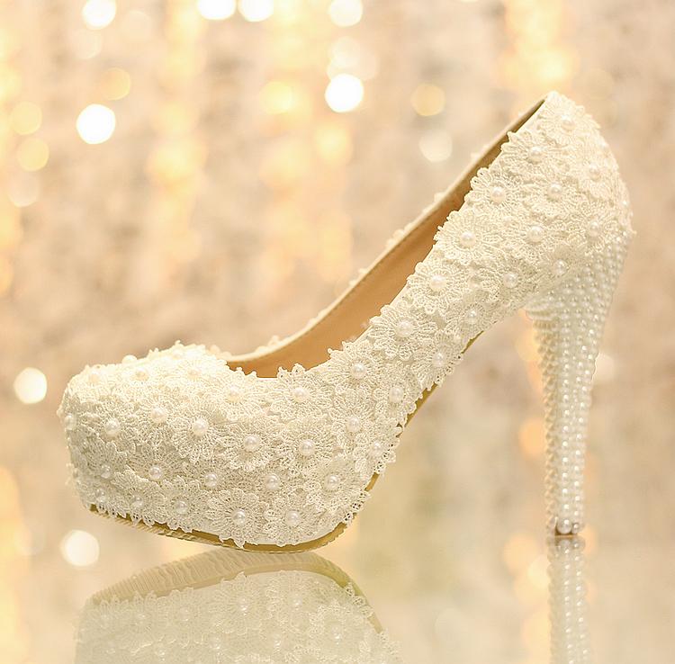 Women Fashion White Flowers Lace Platform High Heels Pearls Wedding Shoes