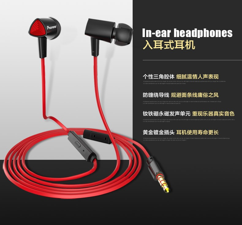 Original Pioneer SEC-CL31S Phone Headset In-ear Earbud Earphone with Mic Sports Wire Earphones Fone for Android IOS System