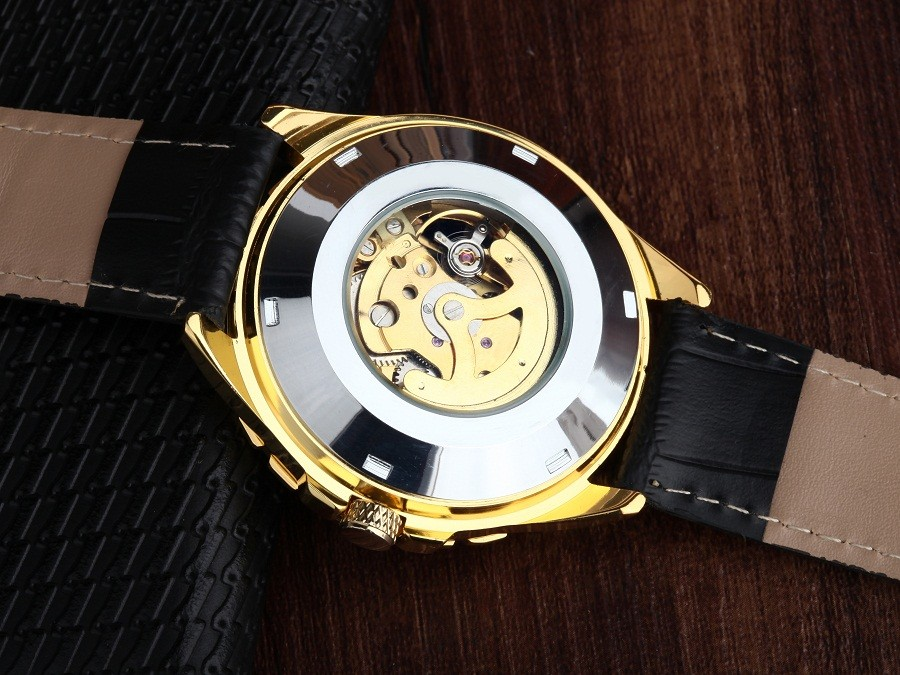 GOER марка мужские спортивные водонепроницаемые наручные часы механическая Автоматическая Кожа Скелет Световой мужской Часы