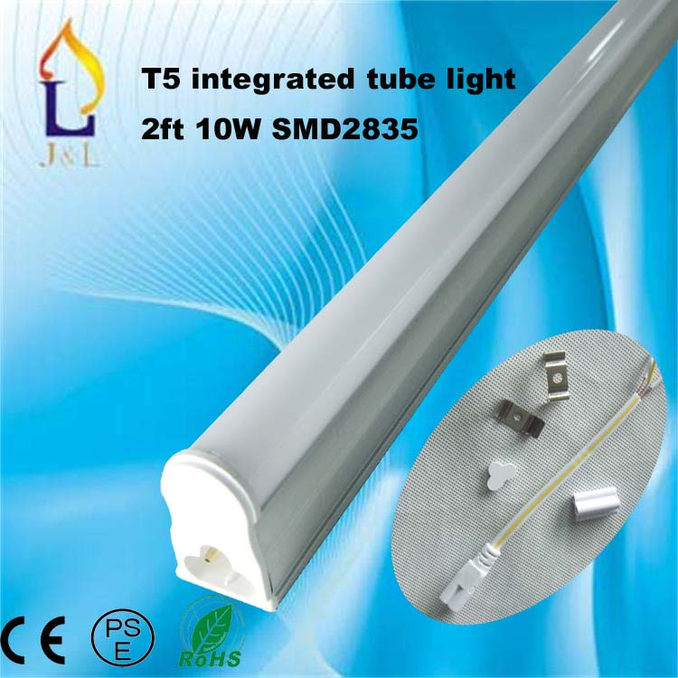 25pcs/lot Free shipping integrated 10W 600MM T5 LED led light tube 2ft 0.6m indoor lamp SMD2835 48led/PC(China (Mainland))