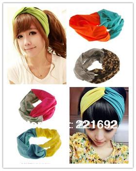 2014 Hot Promotion Women Contrast Color Cross Wide Ribbon Cute Headband Hair Band Yoga Sport Ribbon