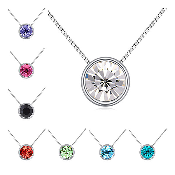 High Quality New Round Necklaces & Pendants Genuine Swarovski Elements Silver Plated Fashion Women Gift Jewelry