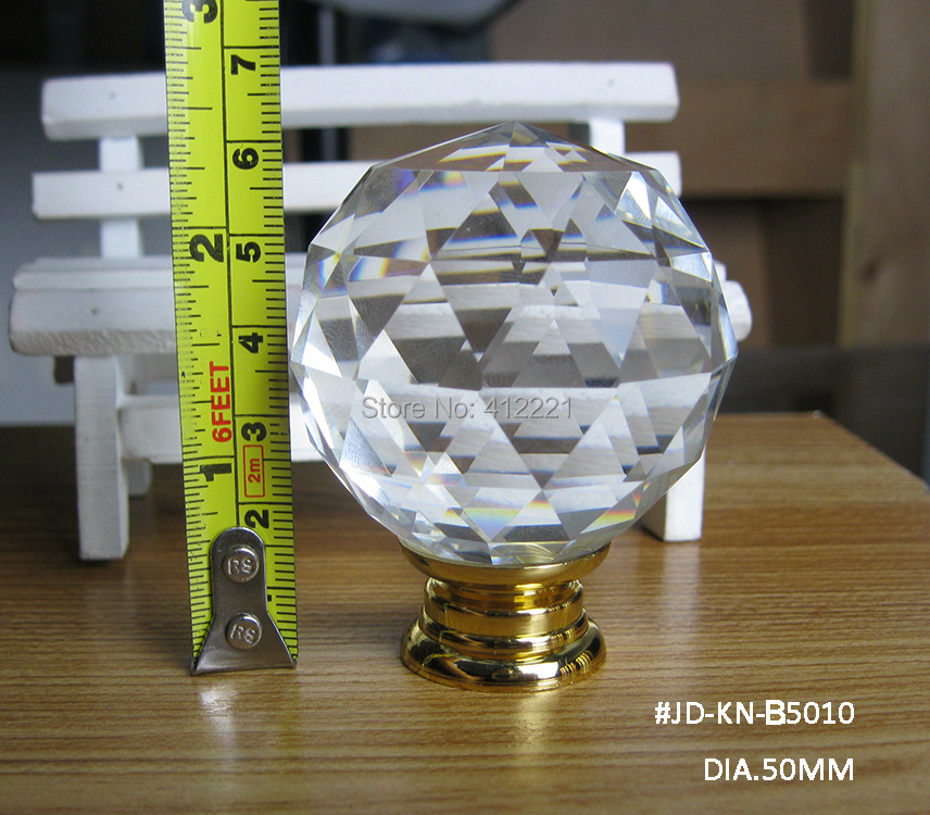 Free shipping 2pcs/lot New Products 50 mm k9 Crystal Triangle Cut Faces Ball Big Knob for furniture handle & Knob In Gold base(China (Mainland))