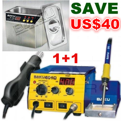 USD40 OFF ! Hot Air Soldering Rework Station + Stainless Steel Ultrasonic Cleaner.Brand BAKU,High Quality . BK-601D+BK-3550(China (Mainland))