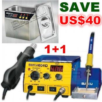 USD40 OFF !  Hot Air Soldering Rework Station + Stainless Steel Ultrasonic Cleaner.Brand BAKU,High Quality . BK-601D+BK-3550