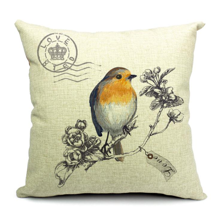 vintage Painting flowers bird ikea home decorative throw pillow case cushion cover chair bed car sofa seat - YiWu MaMa Home Co., LTD. store