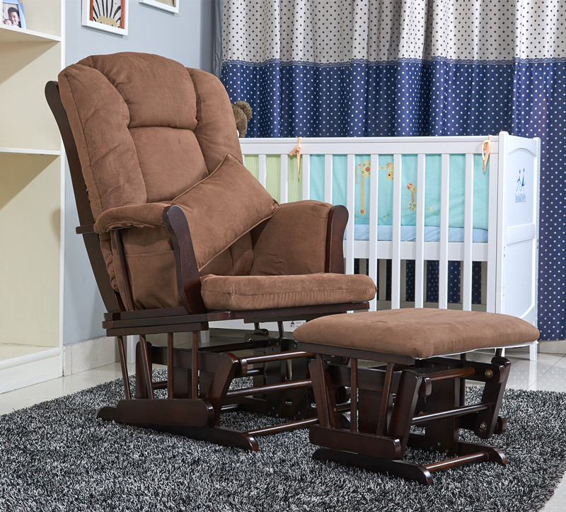 Wood Rocking Chair Glider Rocker And Ottoman Set Living Room Furniture ...