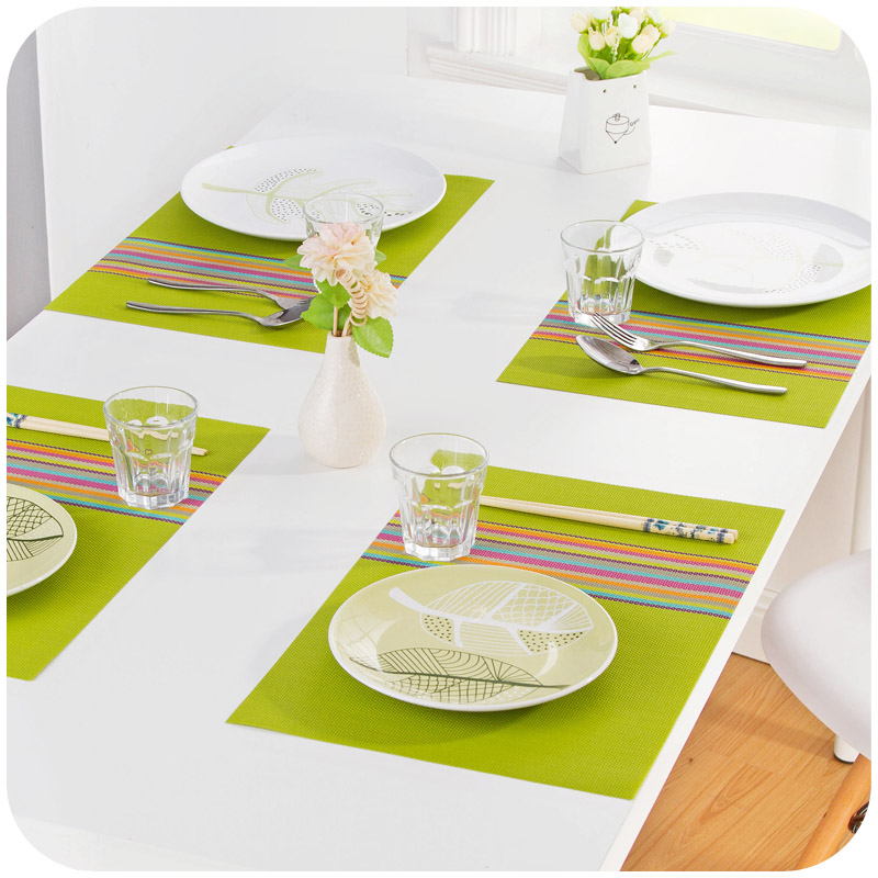 1PC 30*45cm Seven Colorful Dinner Placemats PVC Place Table Mats Tableware Dinnerware Kitchen Dining Bar Accessories Tools(China (Mainland))