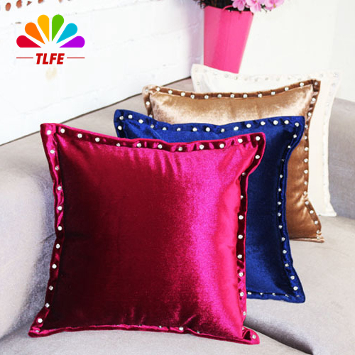 modern solid plush with diament pillow case 45x45cm cushion cover case sofa bedding decorative pillowcase for chair seat ZT0728(China (Mainland))